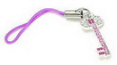 Painful Pleasures CEL037 PINK KEY Wholesale Cell Phone Charms with Purple Holder