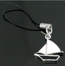 Painful Pleasures CEL052 WHITE/BLACK Sail Boat Cell Phone Charms