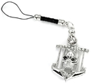 Painful Pleasures CEL074 Black Eyed SKULL with CZ accents Cell Phone Charm