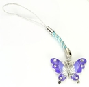 Painful Pleasures CEL076 PURPLE and White Butterfly with CZ Stone Accents Cell Phone Charm