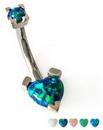 Painful Pleasures Custom-376-TreJolieNavHeart-le 16g-14g-12g Heart Opal Navel Belly Button Ring (CUSTOM MADE)