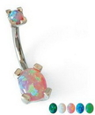 Painful Pleasures Custom-377-TreJolieNavOval-le 16g-14g-12g Oval Opal Navel Belly Button Ring (CUSTOM MADE)