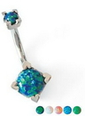 Painful Pleasures Custom-378-TreJolieNavRound-le 16g-14g-12g Round Opal Navel Belly Button Ring (CUSTOM MADE)