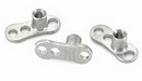 Painful Pleasures derm008 14g Steel Dermal Anchor with 2mm or 2.5mm Rise & 3-Hole Base - Price Per 1