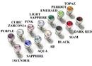 Painful Pleasures derm079 18g - 16g Internally Threaded Jewel Prong-Set Swarovski Jewel Top - Price Per 1