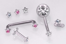 Painful Pleasures derm122 14g - 12g Internally Threaded 4mm Steel Star Top with Gem - Price Per 1