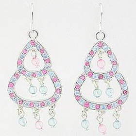 Pink/Blue 1-2-3 Fashion Dangling Earrings