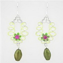 Painful Pleasures EAR017 GREEN FLOWER Prism Costume Fashion Earrings