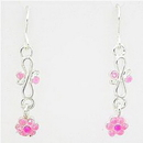 Painful Pleasures EAR020 PASTEL PINK FLOWER Dangle Earrings