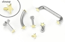 Painful Pleasures GNS025b 18g-16g Internally Threaded Replacement YELLOW GOLD FLAT STAR - Price Per 1