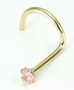 Painful Pleasures GNS089-screw-20g-2mm 20g 14kt Yellow Gold 2mm CZ-Pink Jewel Nose SCREW