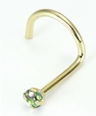 Painful Pleasures GNS091-screw-20g-2mm 20g 14kt Yellow Gold 2mm Light Green Nose Screw