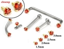 Painful Pleasures GNS132 14kt Yellow Gold Internally 1.2mm Threaded LT. RED Prong Set Stones - 4 Sizes - Price Per 1