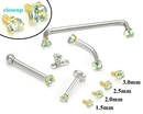 Painful Pleasures GNS133 14kt Yellow Gold Internally 1.2mm Threaded LT. BLUE Prong Set Stones - 4 Sizes - Price Per 1