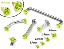 Painful Pleasures GNS136-yellow-peridot 14kt Yellow Gold Internally 1.2mm Threaded Lt. Green Prong Set Stones - 4 Sizes - Price Per 1
