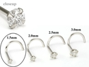 Painful Pleasures GNS139 14kt White Gold 1.5mm (SI) DIAMOND Jewel Nose Screw 20g