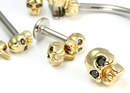 Painful Pleasures GNS157-5mm-gold-skull 14kt Yellow Gold Internally 1.2mm(14g) Threaded 5mm SKULL with BLACK Gem Eyes - Price Per 1