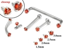 Painful Pleasures GNS167 14kt WHITE Gold Internally 1.2mm Threaded LT. RED Prong Set Stones - 4 Sizes - Price Per 1