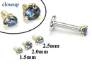 Painful Pleasures GNS176 18g-16g Internally Threaded Replacement YELLOW GOLD PRONG Dk. Blue - Price Per 1