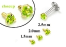 Painful Pleasures GNS177 18g-16g Internally Threaded Replacement YELLOW GOLD PRONG Lt. Green - Price Per 1