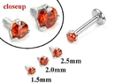 Painful Pleasures GNS179 18g-16g Internally Threaded Replacement WHITE GOLD PRONG Lt. Red - Price Per 1