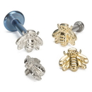Painful Pleasures GNS228 14g or 12g Internally Threaded 14kt Yellow Gold Bumble Bee Top - Price Per 1