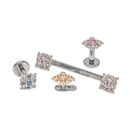 Painful Pleasures GNS232 14g-12g Internally Threaded 14kt White Gold Effloresce Crystal Jeweled Top - Price Per 1