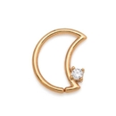 Painful Pleasures GNS237 16g 14kt Yellow Gold Crescent Moon Bendable Ear Jewelry with Crystal Jewel - Right-Facing - Price Per 1