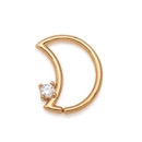 Painful Pleasures GNS241 16g 14kt Yellow Gold Crescent Moon Bendable Ear Jewelry with Crystal Jewel - Left-Facing - Price Per 1