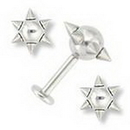 Painful Pleasures JL011 14g 6 Spike Unique Labret Stud Body Jewelry