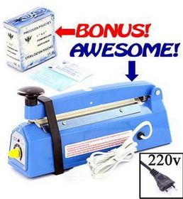 Desk Type Impulse Heat Sealer + Bonus Free 400 Small Sterilization Pouches - 220V