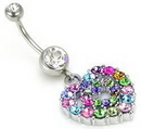 """Painful Pleasures MN0020 14g 7/16"""" Festival of Colors Heart Belly Button Rings"""