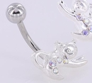 """Painful Pleasures MN0038 14g 7/16"""" Purring Kitten Belly Button Ring"""