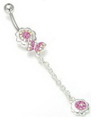 """Painful Pleasures MN0721 14g 7/16"""" Jewel Explosion Flower with Butterfly Dangle Belly Button Ring"""