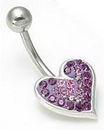 """Painful Pleasures MN0725 14g 7/16"""" Jewel Explosion Heart Belly Button Ring"""