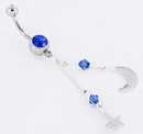 """Painful Pleasures MN0909 14g 7/16"""" Midnight Star and Moon Belly Button Ring"""