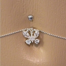 "Painful Pleasures MN0950 14g 7/16"" Crystal Butterfly Belly Button Ring with Belly Chain"