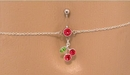 "Painful Pleasures MN0954 14g 7/16"" Red Jewel with Cherry Dangle Belly Button Ring with Belly Chain"