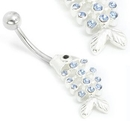 """Painful Pleasures MN0967 14g 7/16"""" Dangle Fish with Light Blue Jewels Belly Button Ring"""