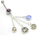 """Painful Pleasures MN0992 14g 7/16"""" Purple Abstract Fashion Dangle Belly Button Ring"""