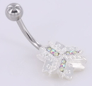 Painful Pleasures MN1002 14g 7/16 Crystal Explosion Snow Flake Winter Belly Button Ring