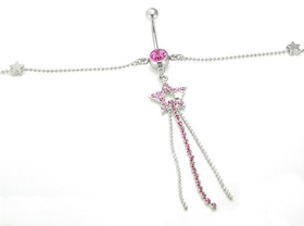Pink Star Dangle Single Gem Drop Belly Button Ring With 8 Stars Belly Chain