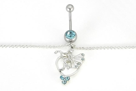 Fairy Single Aqua Gem Belly Chain For Pierced Navels