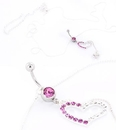 "Painful Pleasures MN1017 14g 7/16"" PINK/CZ Heart Navel Ring with Hollow Hearts Belly Chain for Pierced Navels"