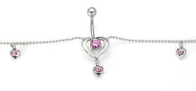 Pink Outline Heart Gem Drop Belly Ring 6 Gem Hearts Belly Chain