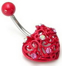 """Painful Pleasures MN1023 14g 7/16"""" Red Heart with 6 Gems Belly Button Ring"""