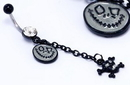 "Painful Pleasures MN1033 14g 7/16"" Single Gem with Glow Face and Skull Dangle Halloween Belly Button Jewelry"