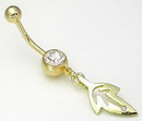 """Painful Pleasures MN1042 14g 7/16"""" Gold Tone Dangle Leaf Single Gem Belly Button Body Jewelry"""
