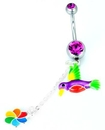 """Painful Pleasures MN1088 14g 7/16"""" TROPICAL FLOWER and BIRD Dangles Belly Button Ring"""