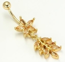 """Painful Pleasures MN1216 14g 7/16"""" Gold Tone Flower with Cascading Leaves Belly Jewelry"""